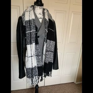 Extra large black, gray, and white winter scarf